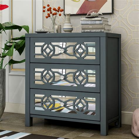 Ornate Wooden Decor Drawer Accent Cabinet