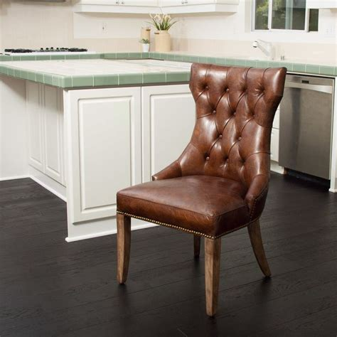 Orosco Genuine Leather Upholstered Dining Chair