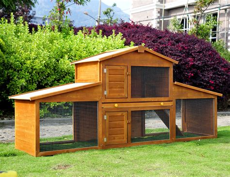 outside rabbit hutch with run