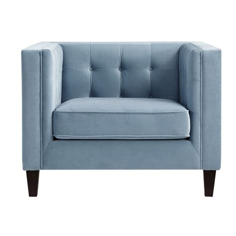 Overcash Velvet Button Tufted Square Tapered Leg Armchair