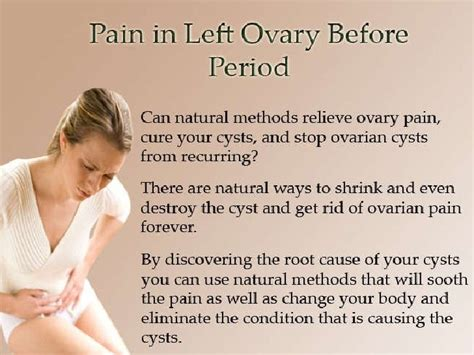 pain in lower left abdomen right before period