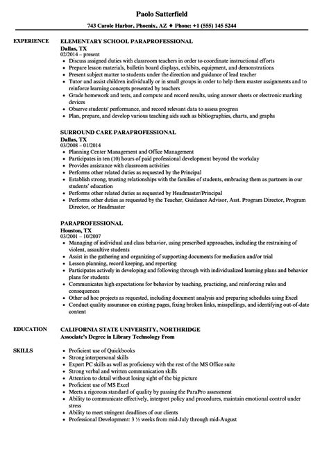 education paraprofessional resume paraprofessional sample resume with objective