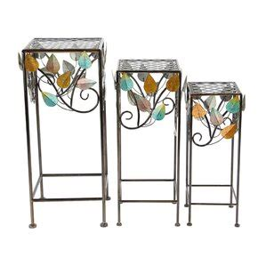 Pares 3 Piece Natural Stems and Leaves Square Nesting Plant Stand Set
