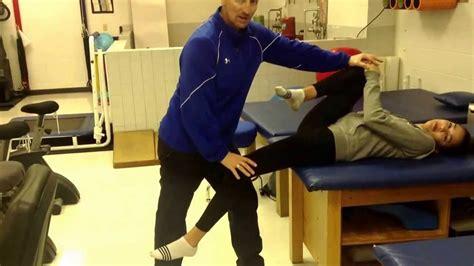 partner stretch prone hip flexor stretches exercise