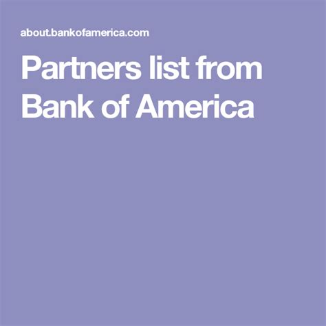 Bank Of America Global Credit Card Partners List From Bank Of America