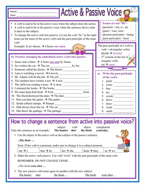 passive voice to active exercises pdf