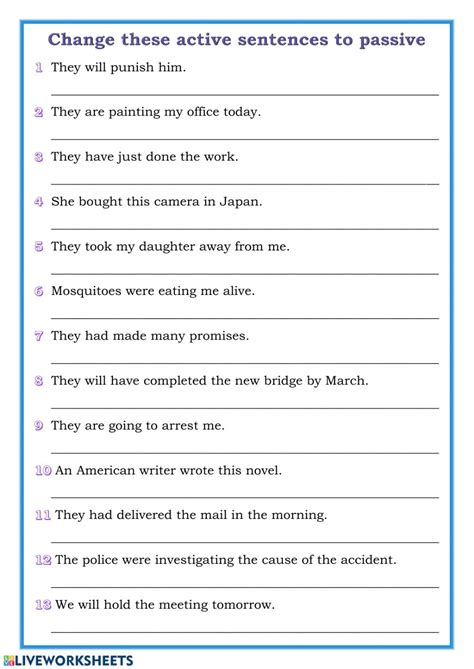 passive voice to active voice exercises with answers