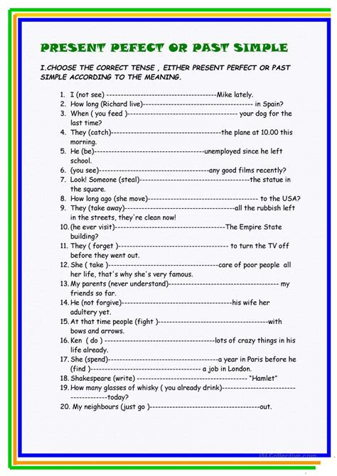 past perfect present perfect past simple online exercises