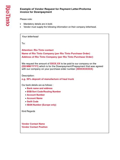 Payment Letter Request Example Of Vendor Request For Payment Letterproforma