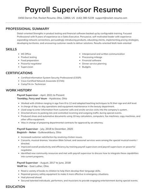 Payroll Administrator Resume Canada Amazing Resume Creator