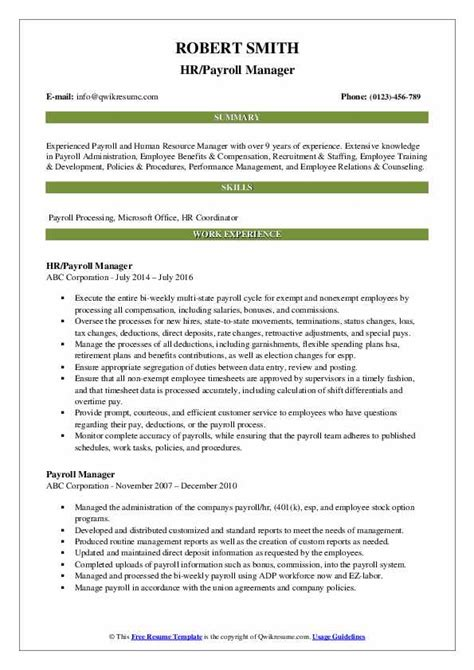 payroll manager resume templates sample resume for hr manager templates and examples