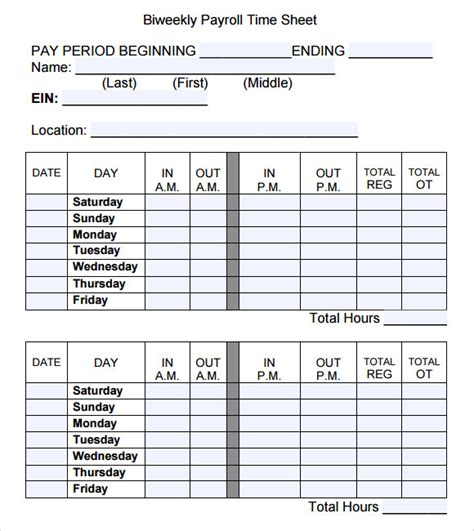 payroll time sheets template