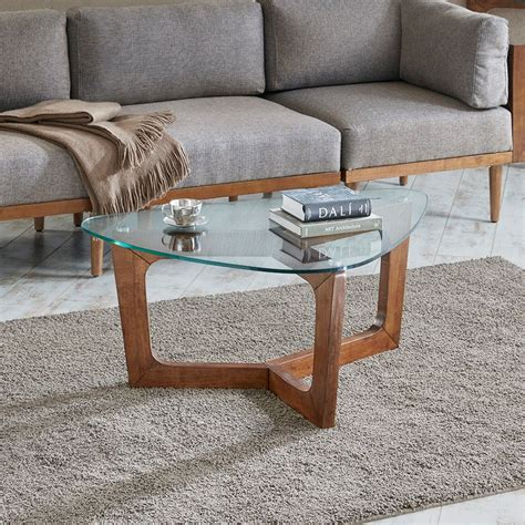 pecan wood and glass coffee table