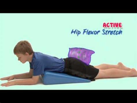 pediatric passive hip flexor stretching videos