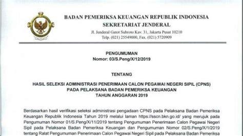 Pengumuman Hasil Cpns Setjen Dpr 2017  Badan Pemeriksa Keuangan Republik Indonesia News Ticker