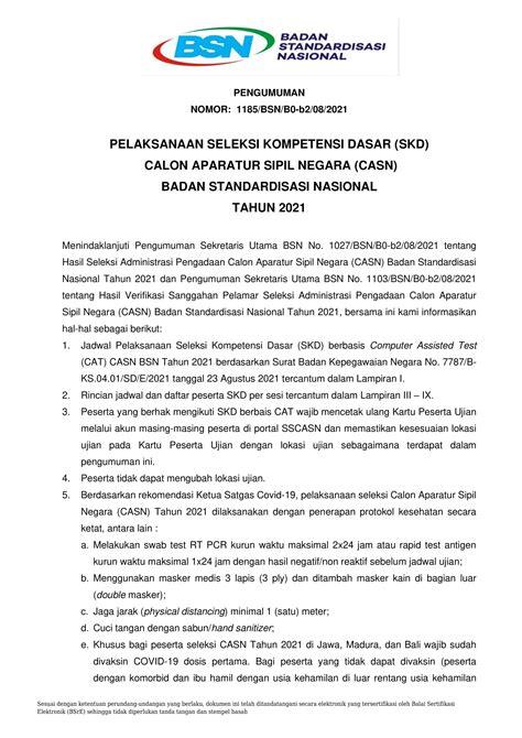 Pengumuman Hasil Cpns Kementerian Pupr 2017  Home Bsn Badan Standardisasi Nasional National