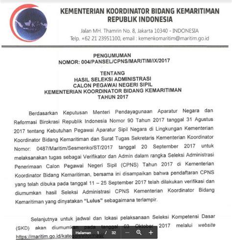 Pengumuman Hasil Cpns Kementerian Pupr 2017  Maritim Kementerian Koordinator Bidang Kemaritiman Ri