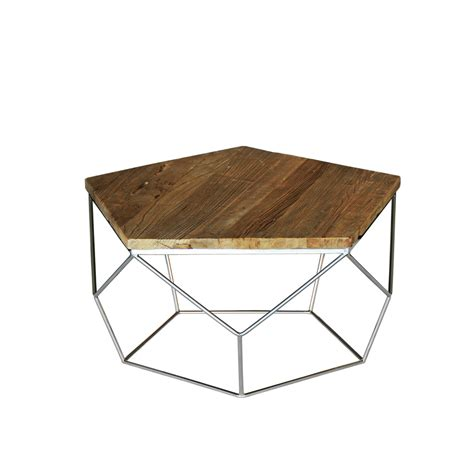 Pentagono Reclaimed Elm Wood Coffee Table