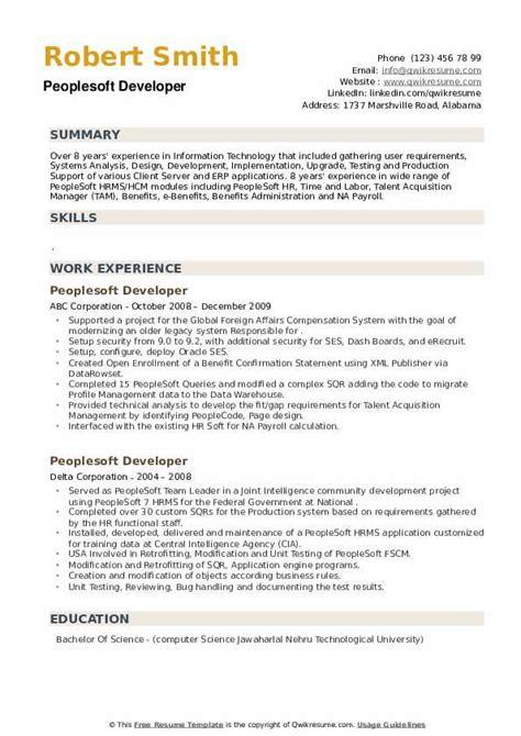 peoplesoft resume sample resume download business resume