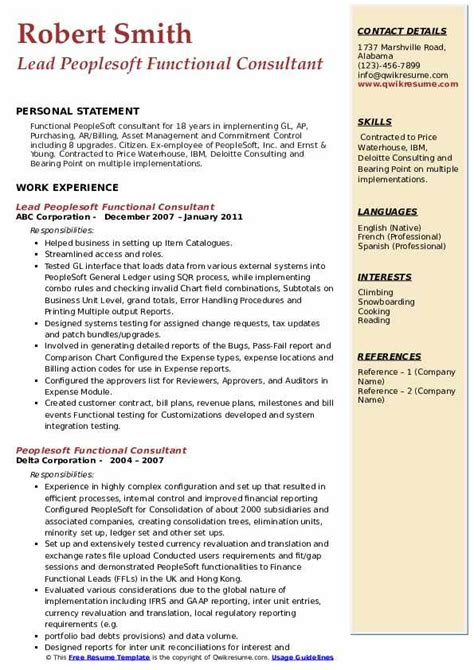 peoplesoft functional consultant resume sample functional consultant resume sample two jeff the career - People Soft Consultant Resume
