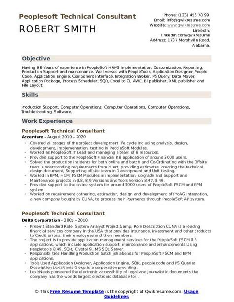 peoplesoft consultant resume how to create a linkedin resume - People Soft Consultant Resume