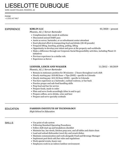 perfect bartender resume example server bartender resume sample livecareer