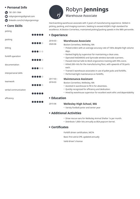 Perfect Resume For Warehouse Warehouse Associate Resume Sample My Perfect Resume