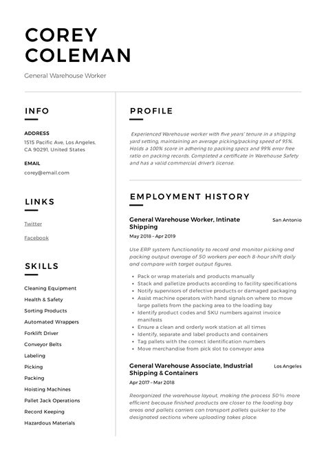 Perfect Resume For Warehouse Warehouse Worker Cover Letter For Resume