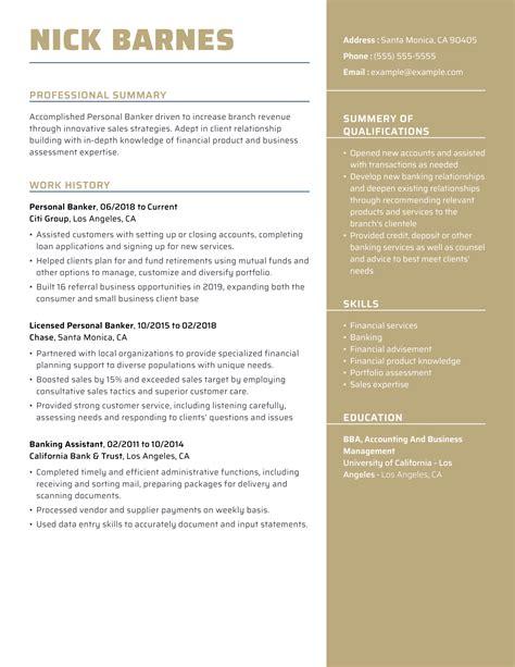 personal banker resumes careerperfectr resume writing help sample resumes - Personal Banker Sample Resume
