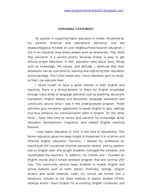 Personal statement examples veterinary