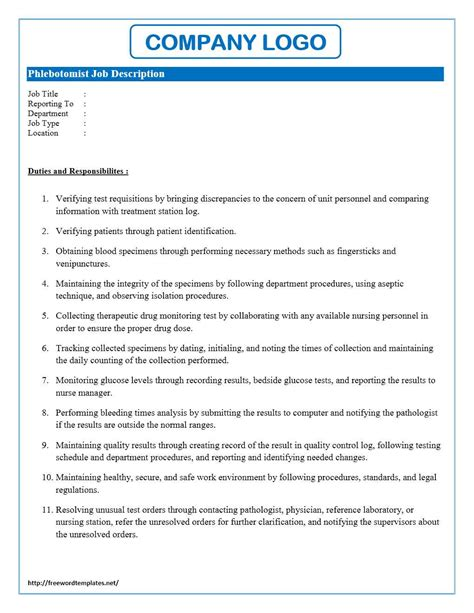 phlebotomist job description resume sample first job resume