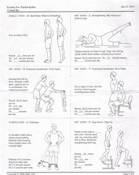 physical therapy hip exercises with pictures print out