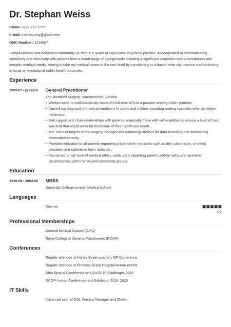 Physician Cv Word Template How To Write The Perfect Physician Assistant School