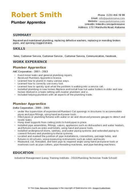 plumbing resume examples apprentice plumber resume sample my perfect resume