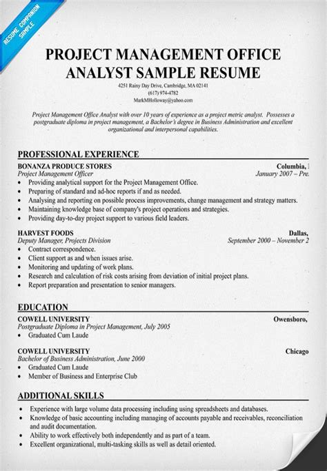 pmo analyst role description resume template for nurses australia