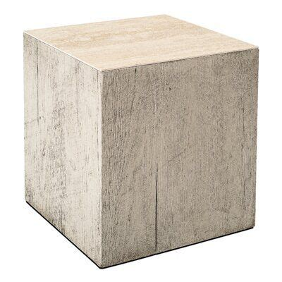 Pollack Side Table W/Bianco Finish Beige Travertine To by