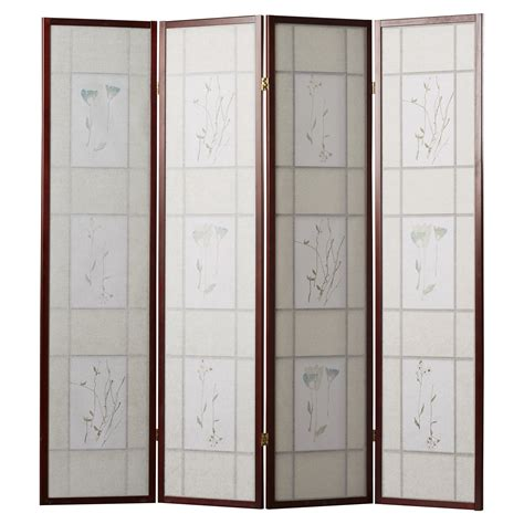 Pothier 70 x 68 Gia 4 Panel Room Divider with Chinese Flower Design