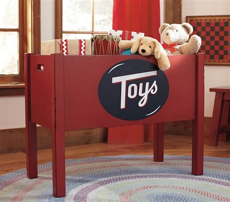 pottery barn red toy box
