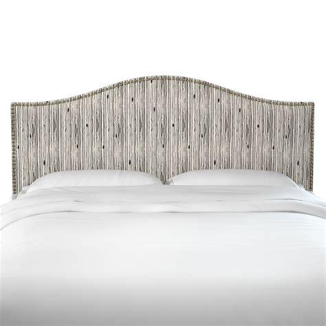 Poyner Shibori Stripe Ink Linen Upholstered Panel Headboard