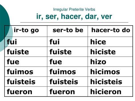 practice with irregular preterite verbs ir and ser