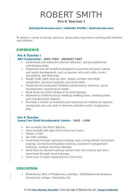 vpk teacher resume pre k teacher resume samples jobhero