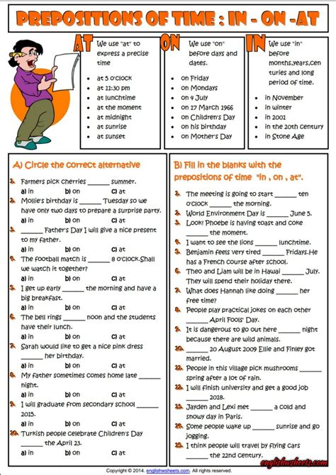 preposition in on at time exercise pdf