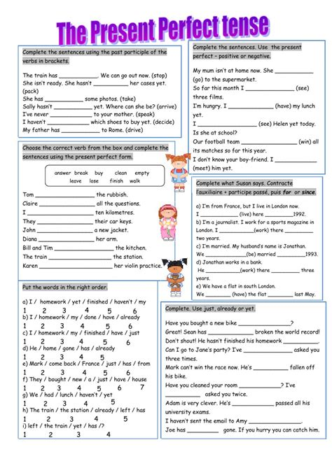 present perfect and past perfect worksheets with answers