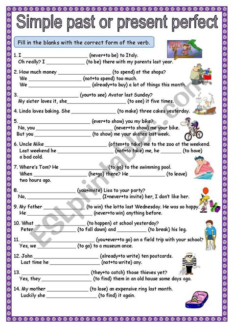 present perfect and past simple exercises worksheets