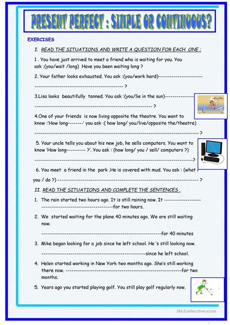 present perfect and present perfect continuous exercises printable