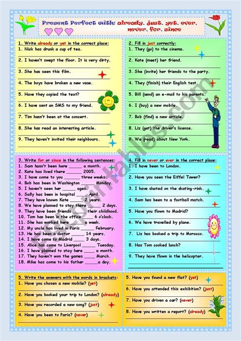 present perfect ever never just already yet worksheet