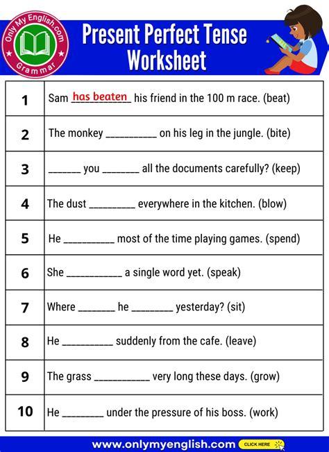 present perfect progressive tense exercises with answers