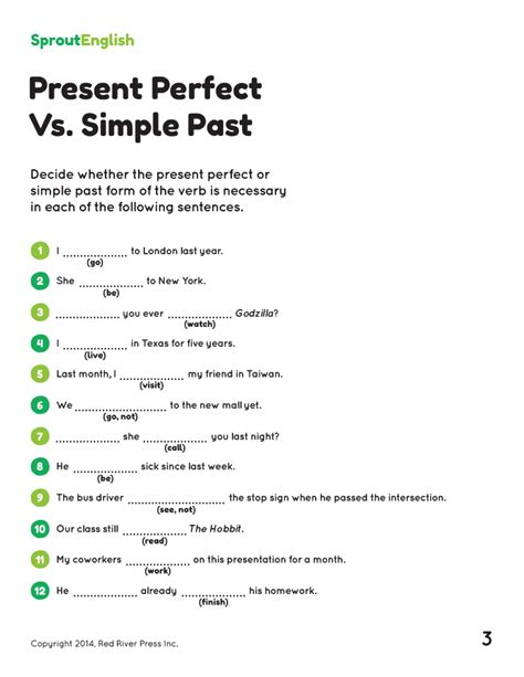 present perfect simple past tense exercises