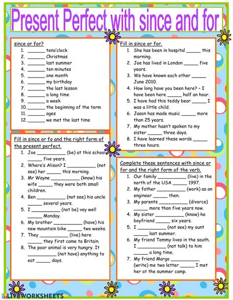 present perfect simple with for and since ejercicios