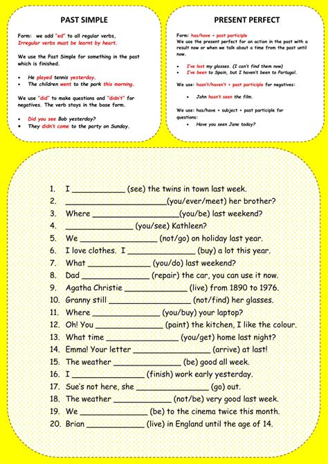 present perfect tense and past simple worksheet pdf